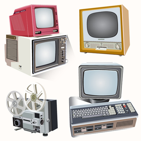 Vector illustration set of the old fashion television Illusztráció