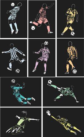 Vector de fútbol pósters sobre fondo negro suave