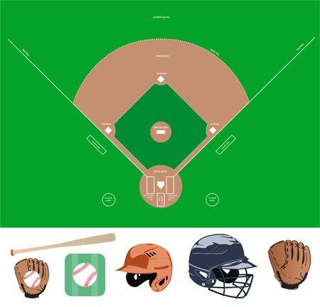 baseball stuff: Set of the baseball field and stuff icons.