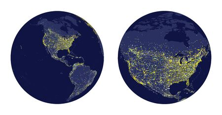 luminary: Illustration of Earth with city lights and zoom of North America.