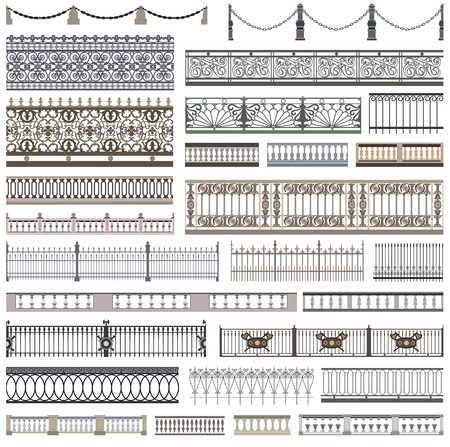 Fence patterns and decorative design elements.
