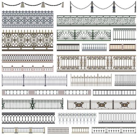 baranda para balcon: Patrones de valla y elementos de diseño decorativo con bordes sin fisuras