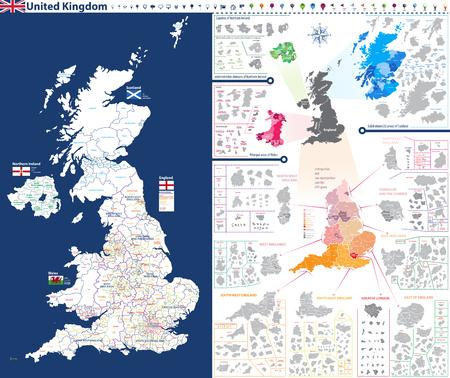 Hoog-gedetailleerde administratieve eenhedenkaart van het Verenigd Koninkrijk.