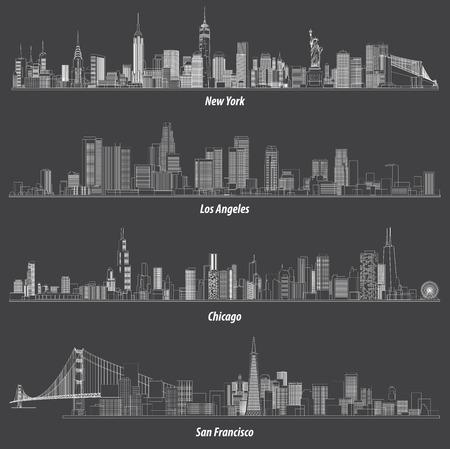 Abstracte illustraties van Verenigde Staten schetsen stadshorizon