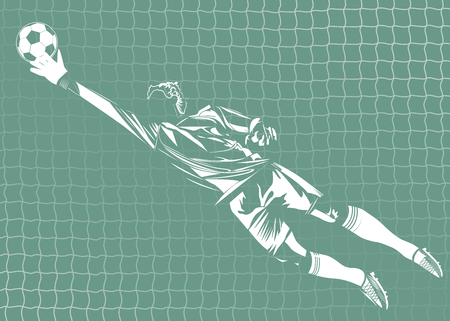 Vector illustration of the isolated goal keeper