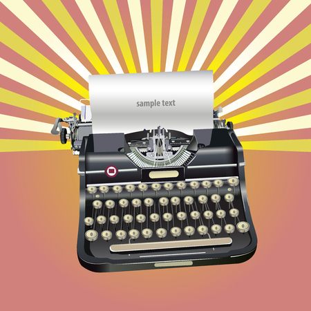Old style vector illustration de fond rétro typewriteron Banque d'images - 82009236