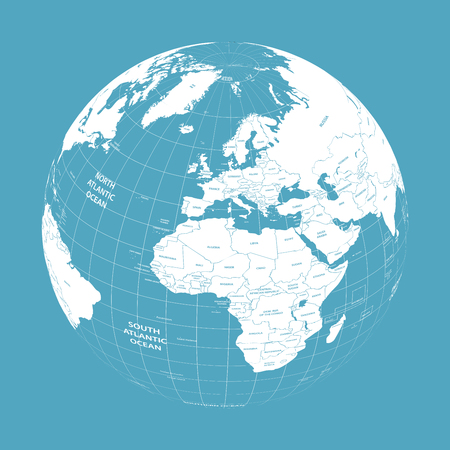 Vector Earth globe with political map Illustration