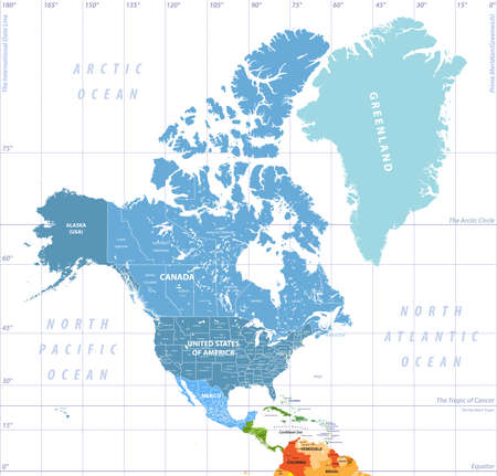 North America high detailed political map. All layers detached and labeled.