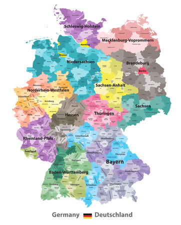 Germany map (colored by states and administrative districts) with subdivisions