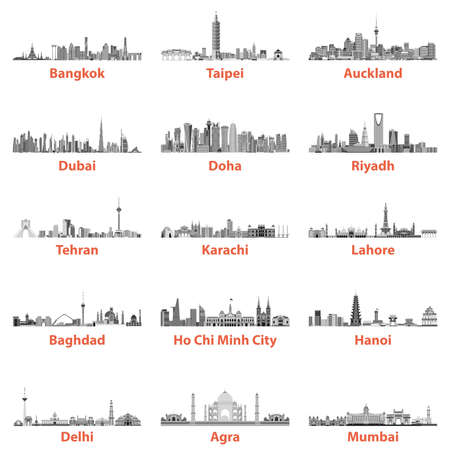Abstract vector illustrations of asian city skylines Illustration