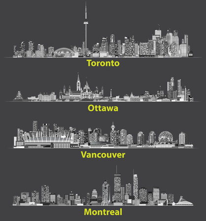 Abstract illustrations of canadian urban city skylines in gray scales on white background