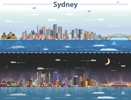 Sydney, jour et nuit, illustration vectorielle Banque d'images - 83880941