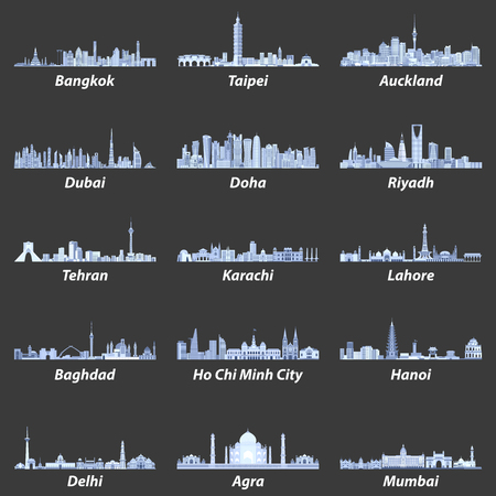 Abstracte vectorillustraties van Aziatische stadshorizonnen