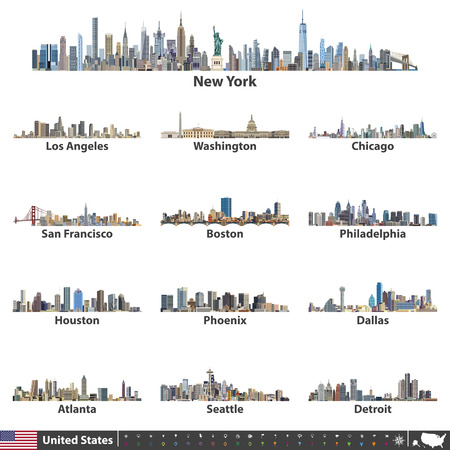Vector illustration. Navigation, location and travel icons; Flag and map of United States of America