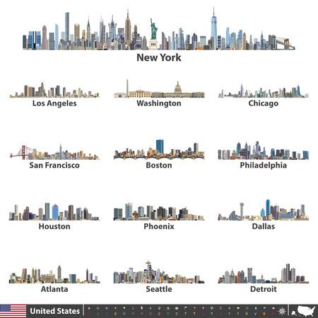 Vector illustratie. Pictogrammen voor navigatie, locatie en reizen; Vlag en kaart van de Verenigde Staten van Amerika