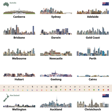 Vector illustration of Australian and New Zealand city skylines. Map and flag of Australia and New Zealand. Navigation, location and travel icons.