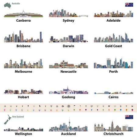 Illustrazione vettoriale di skyline della città australiana e della Nuova Zelanda. Mappa e bandiera dell'Australia e Nuova Zelanda. Icone di navigazione, posizione e viaggio.
