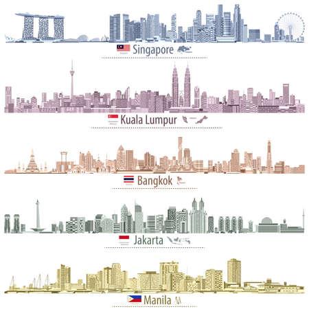 Abstract vector illustrations of asian cities (Singapore, Kuala Lumpur, Bangkok, Jakarta and Manila) skylines