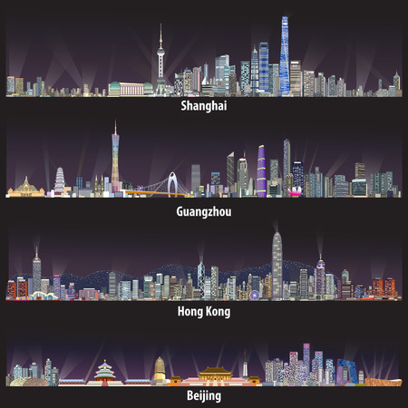 Abstract illustrations of Shanghai, Hong Kong, Guangzhou and Beijing skylines Vectores