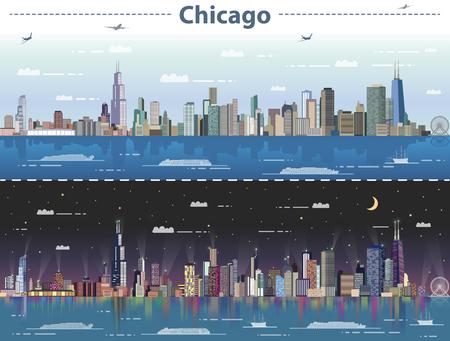 Illustration vectorielle de Chicago au jour et à la nuit Banque d'images - 83883216