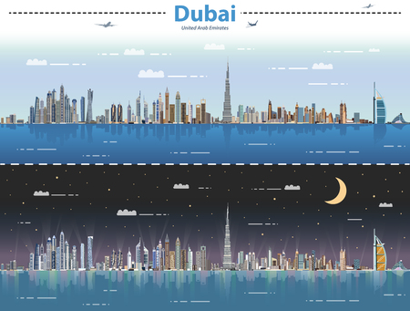 Dubai day and night vector illustration