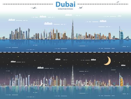 Dubai day and night vector illustration Illustration