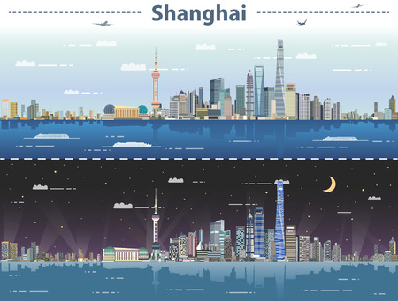 Abstract Shanghai day and night vector illustration