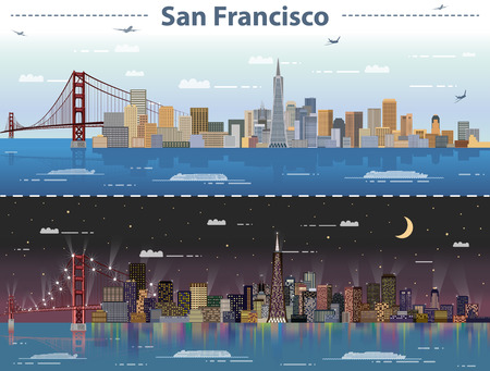 Vector illustration of San Francisco at day and night Иллюстрация