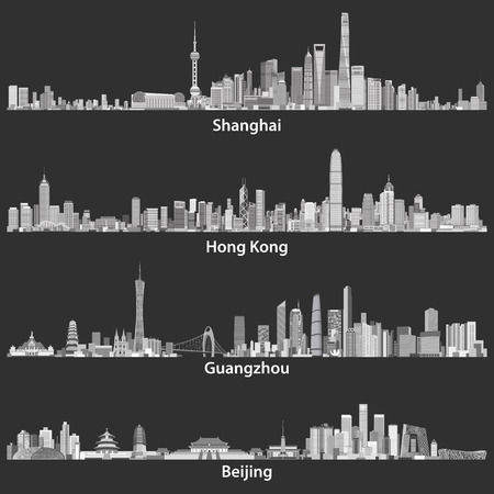 Abstract illustrations of Shanghai, Hong Kong, Guangzhou and Beijing skylines Çizim