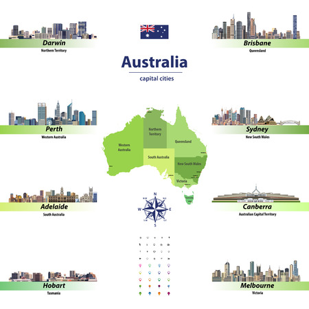 vector illustration of australia state map with skylines of capital cities