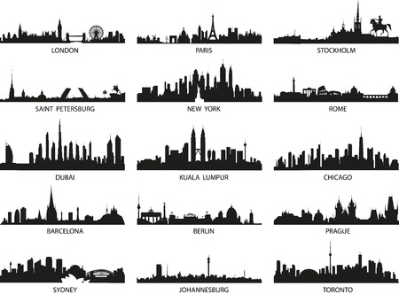 Vector sylwetk? Skylines miasta Ilustracje wektorowe