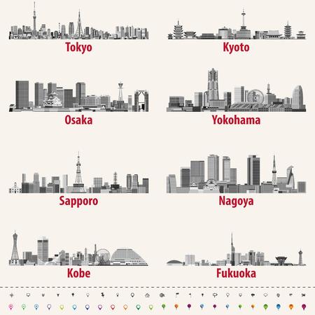 Abstracte vectorillustratie van Japanse stadshorizonnen