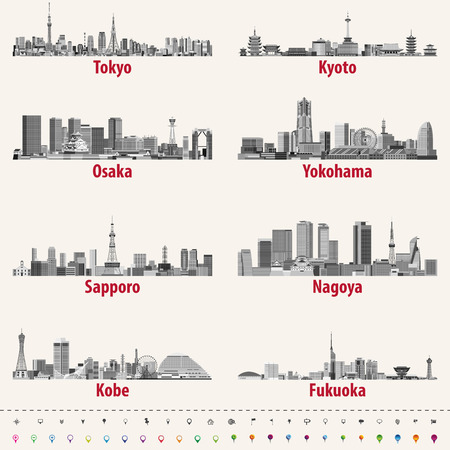 Abstract vector illustration of japanese city skylines Vectores