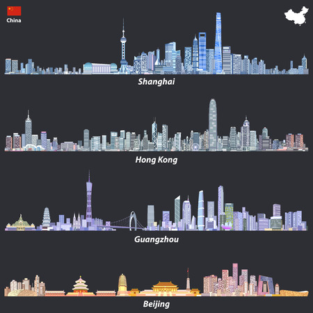 Abstract illustrations of Shanghai, Hong Kong, Guangzhou and Beijing skylines 일러스트