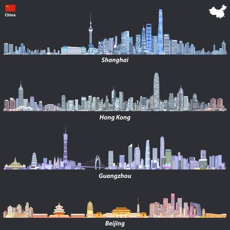 Abstracte illustraties van Shanghai, Hong Kong, Guangzhou en Beijing skylines
