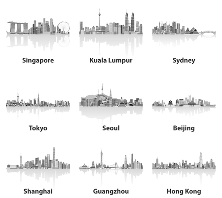 Abstract vector illustrations of Singapore, Kuala Lumpur, Sydney, Tokyo, Seoul, Beijing, Shanghai, Guangzhou and Hong Kong skylines in gray scales color palette