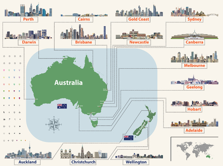 Vector map (and flags) of Australia and New Zealand with the largest cities skylines. Location, navigation and travel icons Illustration