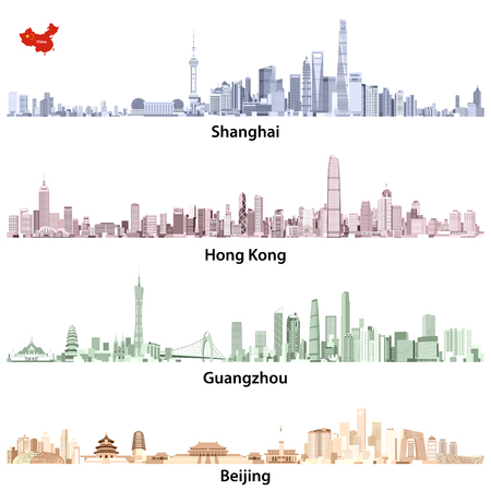 Abstract illustrations of Shanghai, Hong Kong, Guangzhou and Beijing skylines  イラスト・ベクター素材