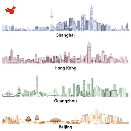 Illustrations abstraites des horloges de Shanghai, Hong Kong, Guangzhou et Beijing Banque d'images - 83883665