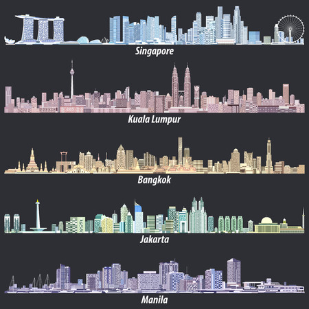 Abstract vector illustrations of Singapore, Kuala Lumpur, Bangkok, Jakarta and Manila skylines Çizim