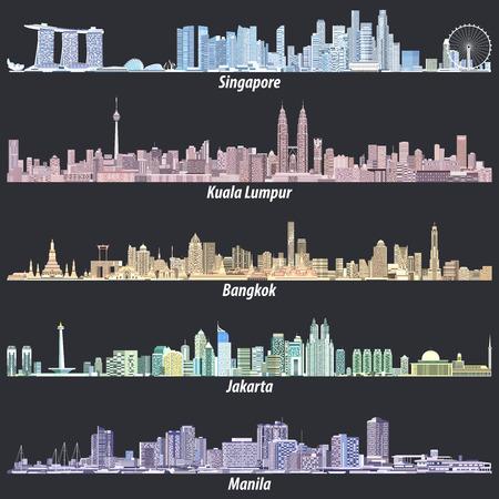 Abstract vector illustrations of Singapore, Kuala Lumpur, Bangkok, Jakarta and Manila skylines Illustration