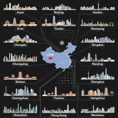 Vector China map with largest chinese city skylines Illusztráció