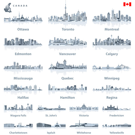 Canadian largest cities and all states capitals skylines in tints of blue color palette