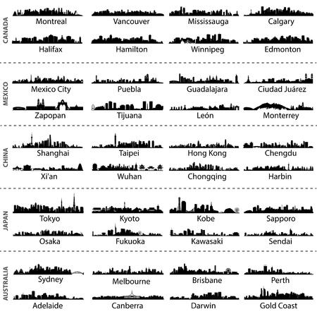 Skylines van steden in Canada, Mexico, China, Japan en Australië