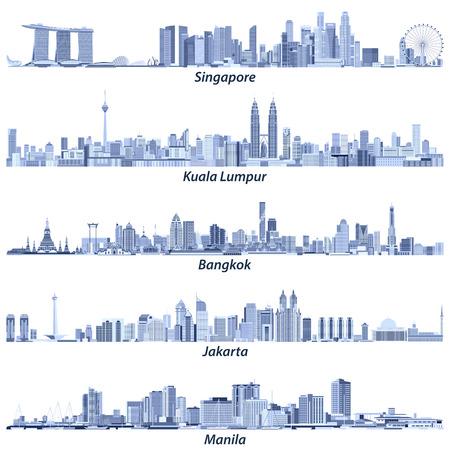 Abstract vector illustrations of Singapore, Kuala Lumpur, Bangkok, Jakarta and Manila skylines 일러스트