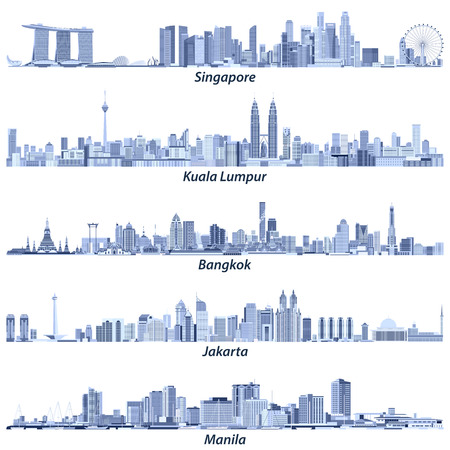 Abstracte vectorillustraties van skylines van Singapore, Kuala Lumpur, Bangkok, Jakarta en Manila