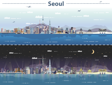 Vector illustration of Seoul at day and night Çizim