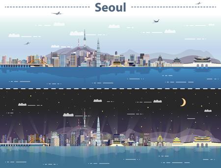 Vectorillustratie van Seoel bij dag en nacht