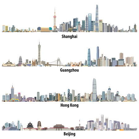Abstract illustrations of Shanghai, Hong Kong, Guangzhou and Beijing skylines Vettoriali