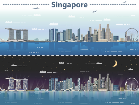 Singapore day and night vector illustration